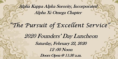 """""""The Pursuit of Excellent Service"""" - 2020 Founders' Day Luncheon tickets"""