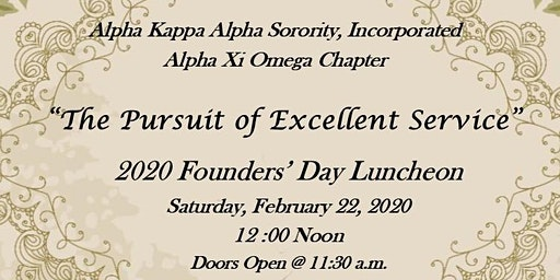 """""""The Pursuit of Excellent Service"""" - 2020 Founders' Day Luncheon"""