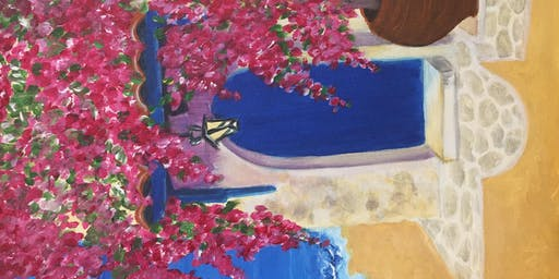 Wine and Paint night  Acrylics on Canvas : Santorini