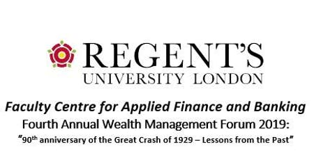 Fourth Annual Wealth Management Forum 2019 - 90th anniversary of 1929 Crash tickets