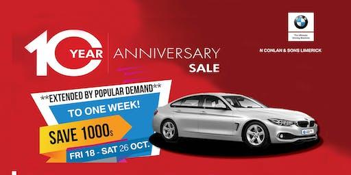 Conlans BMW Limerick 10 Year Anniversary Sale