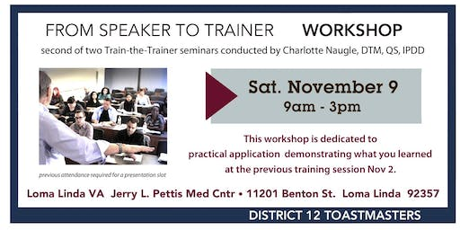 From Speaker to Trainer part 2