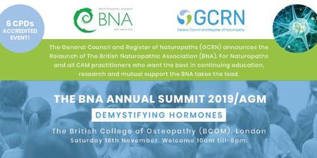 The British Naturopathic Association (BNA) Annual Summit 2019/AGM tickets