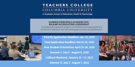 Summer Principals Academy Informational Social: Princeton NJ tickets
