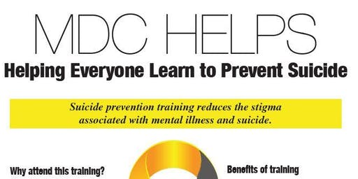 MDC Helps - Suicide Prevention Training - via Q.P.R.
