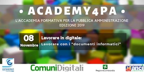 """Lavorare in digitale: lavorare con i """"documenti informatici"""" biglietti"""