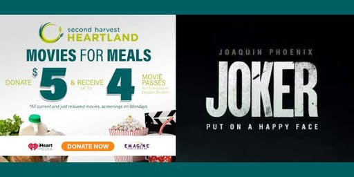"See ""JOKER"" FOR FREE - Movies For Meals w/Second Harvest Heartland Plymouth"