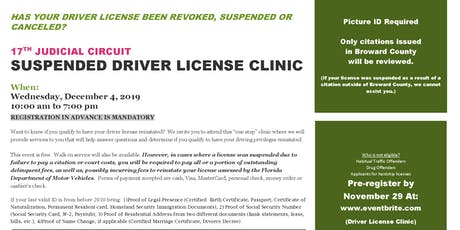 SUSPENDED DRIVER LICENSE CLINIC tickets
