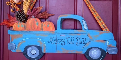 Wooden Fall Pumpkin Truck Paint Night at Dory's Mediterranean Grill
