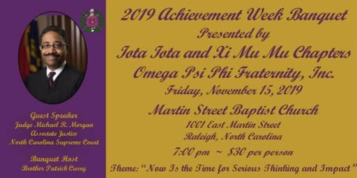 2019 Achievement Week Banquet - Iota Iota & Xi Mu Mu Chapters of Omega Psi Phi Fraternity, Incorporated