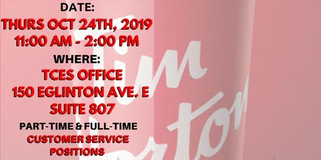 Tim Hortons (Finch/Leslie) Oct 24 Hiring Event tickets