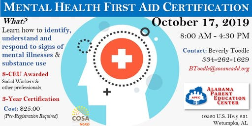 Mental Health First Aid certification (APEC)