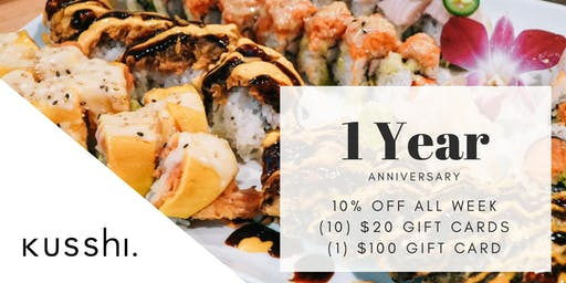 Kusshi  Sushi 1 Year Anniversay Week 10% Off & Gift Card Giveaway!