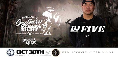 """Simply Southern Steak Night feat. DJ Five (LA) """"A Fairy Belle Ending"""" tickets"""