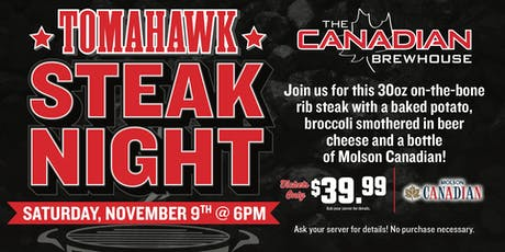 Tomahawk Steak Night (Fort McMurray) tickets