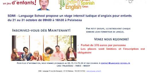 Stage intensif ludique d'anglais pour enfants du 21 au 31 octobre 2019