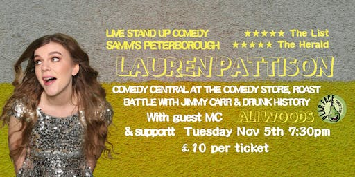 Live Stand up Comedy with headliner Lauren Pattison