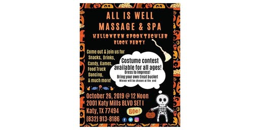 All is Well Massage & Spa Halloween Spectacular Block Party in Katy, Texas