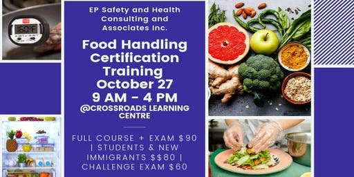 Food Handling Certification Training October 27