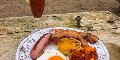 Brunch @ Padstow Kitchen Garden, cooked over fire  served in the polytunnel