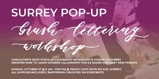 SURREY Pop-Up Brush Lettering CALLIGRAPHY ART WORKSHOP