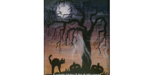 2 Hour Painting Class - Eerie Cat Moon (2019-10-26 starts at 7:00 PM)