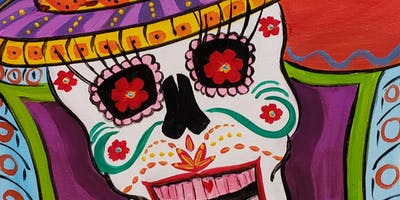 Sugar Skull Painting Party at Brush & Cork