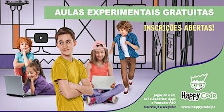 Aula experimental gratuita de Programação de Jogos (6-12 anos) - Happy Code Oriente bilhetes
