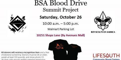 BSA Blood Drive Summit Project - Saturday October 26