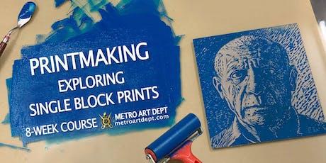 Printmaking - Exploring single block prints tickets