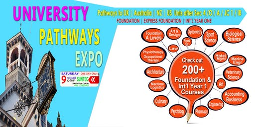 Australia, UK, NZ & US Uni Pathway Expo @Suntec Sat 9 Nov Level 3 Concourse