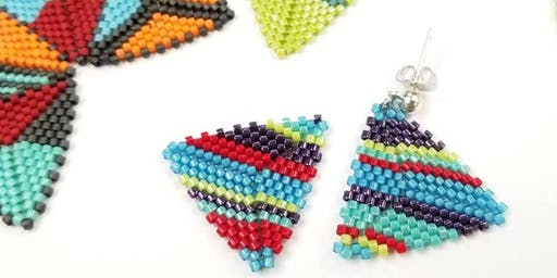 Flat Triangle Earrings - Geometric Beadwork Series