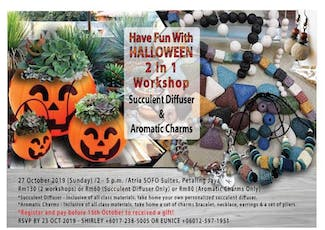 Halloween 2 in 1 Workshop (Succulent Diffuser & Aromatic Charms) tickets