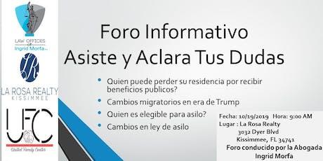Foro Informativo: Asiste y Aclara tus Dudas Migratorias tickets