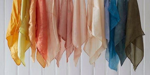 Natural dye silk and linen ribbon workshop