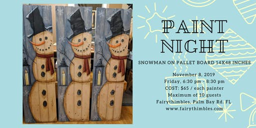Snowman Pallet Board Painting @ Fairythimbles