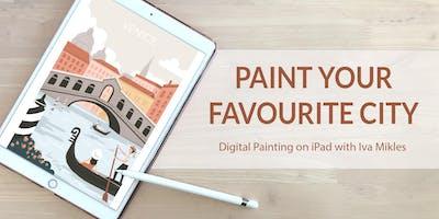 Paint your favourite city on iPad (+ Terrace, Wine & Tapas)