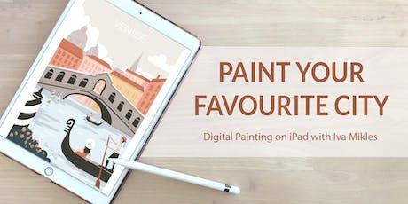 Paint your favourite city on iPad (+ Terrace, Wine & Tapas) tickets