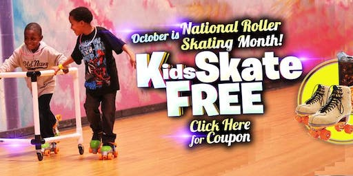 Kids Skate Free Sunday 10/20/19 at 4pm (with this ticket)