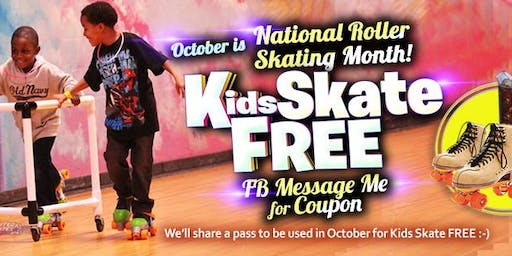 Kids Skate Free Saturday 10/19/19 at 12pm (with this ticket)