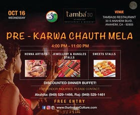 Pre Karwa Chauth Mela: Henna, Bangles, Jewelry, Sweets & Dinner tickets