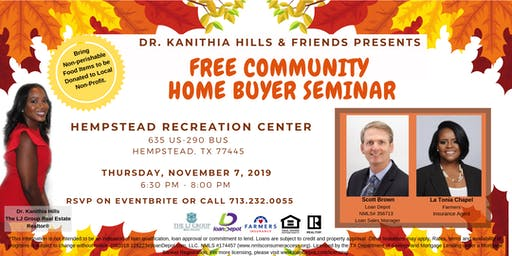 Free Community Home Buyer Seminar in Hempstead, TX