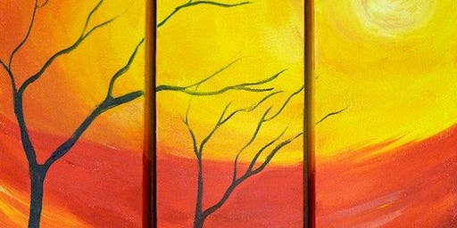 Autumn Sun Triptych Painting Class in Lakewood