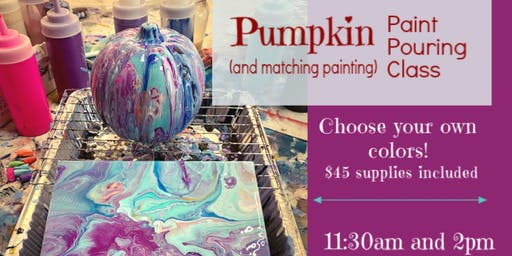 Halloween Pumpkin Paint Pour with Matching Canvas!