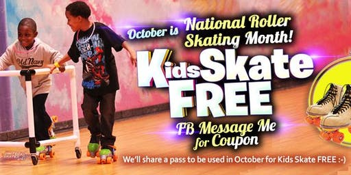 Kids Skate Free on  Saturday10/19/19 at 12pm (with this ticket)