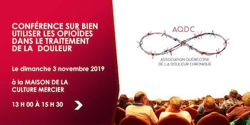 Conférence: Bien utiliser les opioïdes - 3 novembre 2019