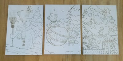 Holiday Painting in the Fab Lab, laser engrave, paint, kid friendly