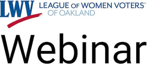 Webinar on Oakland Voter Demographic Study