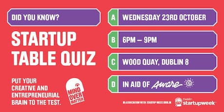 Startup Table Quiz -  Mind Over Matter tickets