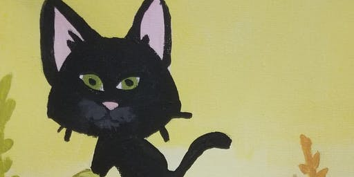 8X10 black cat paint workshop ages 6+